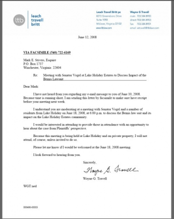 Travell to Stivers Letter 06/12/08