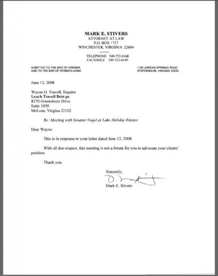 Stivers to Travell Letter 06/13/08